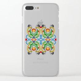 Scandinavian Folk Art ~ Tulip Mosaic Clear iPhone Case
