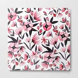 Black and Peach Flowers - Watercolor Pattern Metal Print