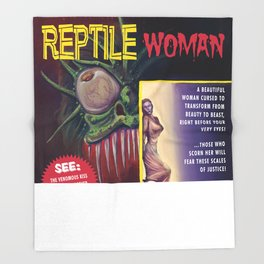 """""""Bite of the Reptile Woman"""" Movie Poster Throw Blanket"""