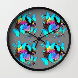 MODERN ART NEON BLUE BUTTERFLIES PATTERNS ART Wall Clock