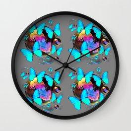 MODERN ART NEON BLUE BUTTERFLIES PATTERNS ART Wall Clock
