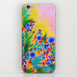 NATURAL ROMANCE in PINK - October Floral Garden Sweet Feminine Colorful Rainbow Flowers Painting iPhone Skin