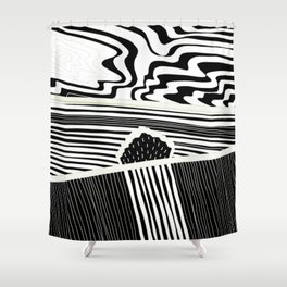 Landscape with Horse Chestnut Tree - White Lines Shower Curtain