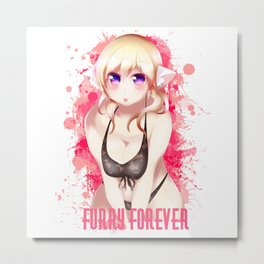 Blonde Hair Bikini Furry Girl Empty Background Metal Print