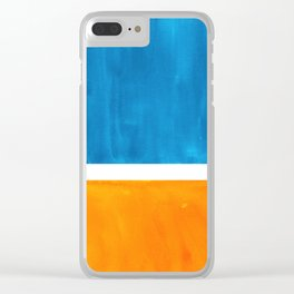Colorful Jewel Tones Blue Gold Color Block Minimalist Watercolor Art Modern Simple Shapes Clear iPhone Case