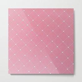 Modern coral pink white geometric pattern Metal Print
