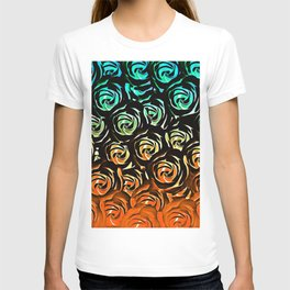 rose pattern texture abstract background in blue green orange T-shirt