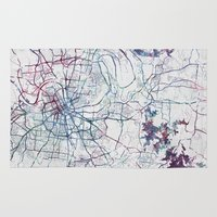 nashville Area & Throw Rugs featuring Nashville by MapMapMaps.Watercolors