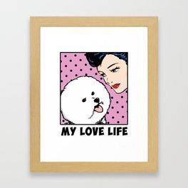 Love Life Comic Girl and Bichon Pop Art Framed Art Print