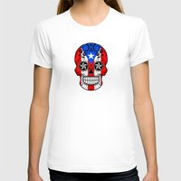 puerto rico T-shirts featuring Sugar Skull with Roses and Flag of Puerto Rico by Jeff Bartels