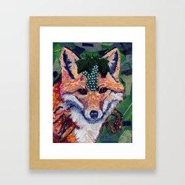 Fox Wearing Jewels Collage Framed Art Print
