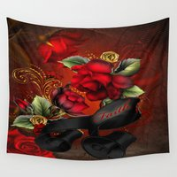 faith Wall Tapestries featuring Floral Faith by The Victorian Fantasy