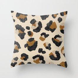 Leopard Print – Neutral Gold Light Palette Throw Pillow