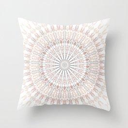 Beige White Mandala Throw Pillow