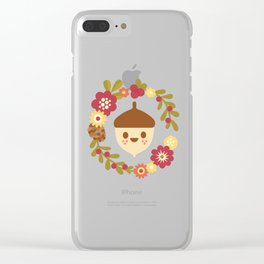 Acorn and Flowers / Blush Pink Clear iPhone Case