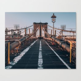 Golden Hour On Brooklyn Bridge Canvas Print