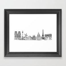 Paris Landmarks by the Downtown Doodler Framed Art Print