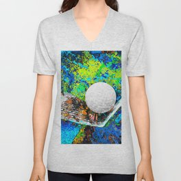 Golf art print work 25 Unisex V-Neck