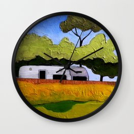 Australian Backyard with Caravan Wall Clock