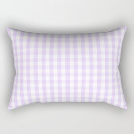 Chalky Pale Lilac Pastel and White Gingham Check Plaid Rectangular Pillow