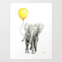 Elephant Watercolor Yellow Balloon Whimsical Baby Animals Art Print