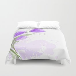 Purple Abstract Watercolor Tulips Duvet Cover