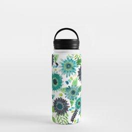 Turquoise Femme Flowers Water Bottle