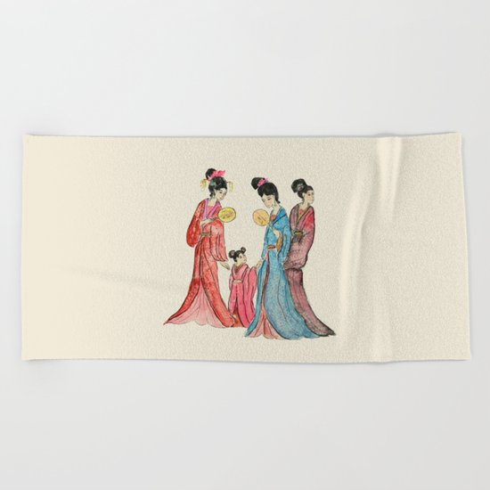 Ancient Chinese ladies painting Beach Towel