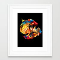 luffy Framed Art Prints featuring Luffy Attack by feimyconcepts05