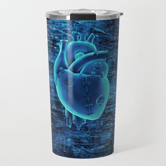 Gamer Heart BLUE TECH / 3D render of mechanical heart Travel Mug