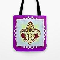 fleur de lis Tote Bags featuring Fleur De Lis Purple  by Tina Vaughn