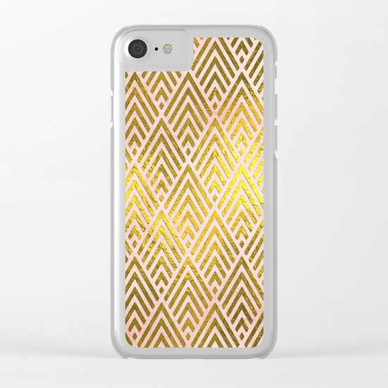 Gold foil triangles on pink - Elegant and luxury pattern Clear iPhone Case