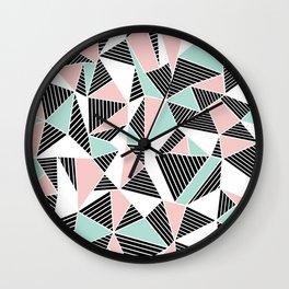 AbLines with Blush Mint Blocks Wall Clock