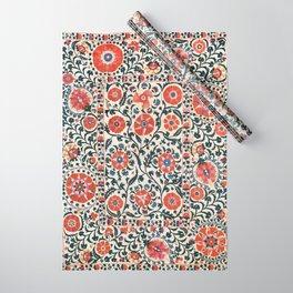 Shakhrisyabz Suzani  Uzbekistan Antique Floral Embroidery Print Wrapping Paper