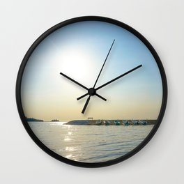 Sunny Autumn's Day at the Dock Wall Clock