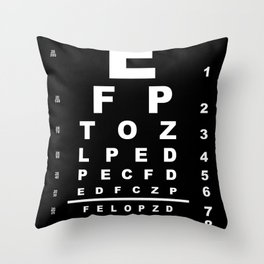 Inverted Eye Test Chart Throw Pillow