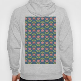Modern coral green navy blue tulips floral illustration Hoody