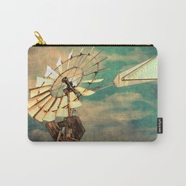 Rustic Windmill against Cloudy Sky Modern Country Art A520 Carry-All Pouch