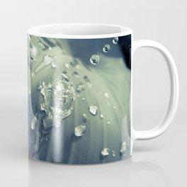 Rain Dropping on Canna Leaf Plant Colorized Abstract Botanical / Nature Photo Coffee Mug