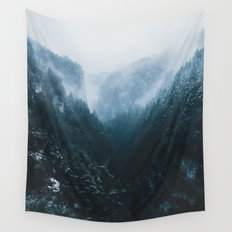 Foggy Forest Mountain Valley - Landscape Photography Wall Tapestry