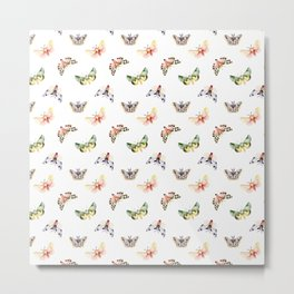 Autumn Moths Pattern Metal Print