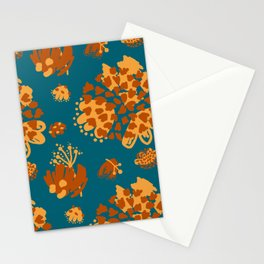 Bold abstract flowers and shapes pattern Stationery Cards