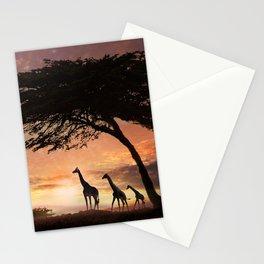 Purple Safari Sunset- giraffe family Stationery Cards