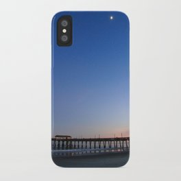 Moon over Tybee Island Pier iPhone Case
