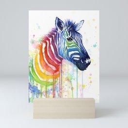 Zebra Rainbow Watercolor Whimsical Animal Mini Art Print