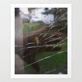 Bee Cracked Glass Art Print