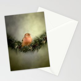 Little Bird in Christmas Wreath Stationery Cards