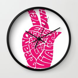 Life Force Hand in Bright Pink Wall Clock