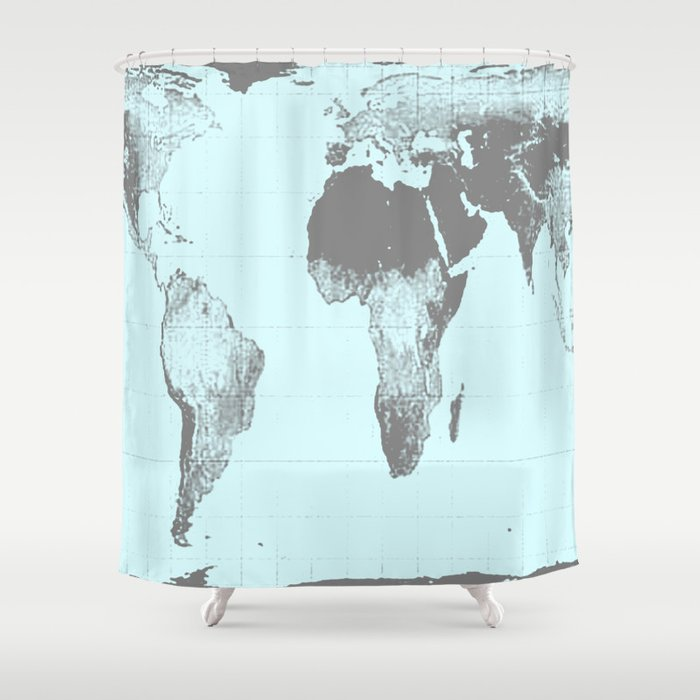 World Map Gall Peters Aqua Shower Curtain By Vintageby2sweet
