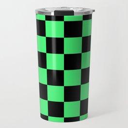 Black and Green Checkerboard Pattern Travel Mug
